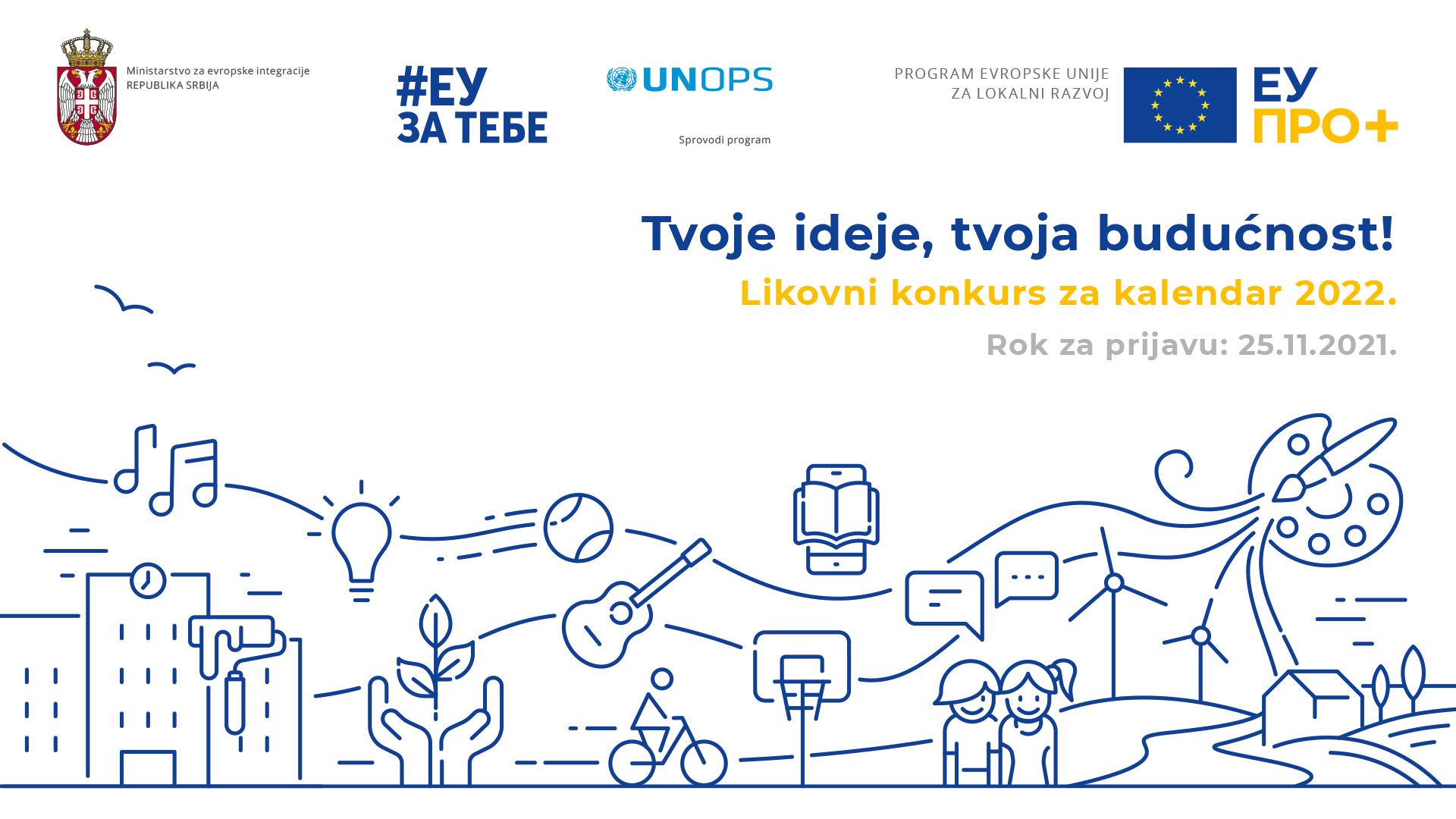 """Otvoren likovni konkurs za kalendar EU PRO Plus programa za 2022. godinu """"Tvoje ideje, tvoja budućnost"""""""